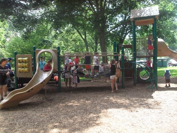 One of the two play areas