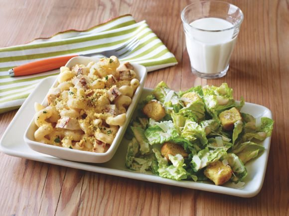 The yummy Chicken Mac 'n Cheese is one of our favorites. Choose the Caesar Salad and a cold glass of milk, and you have the perfect meal!