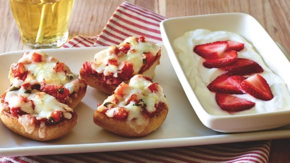 Vanilla Yogurt with Strawberries the perfect side with any meal! The Cheesy Bread Pizza looks yummy too!