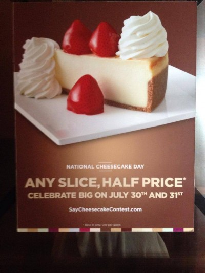 cheesecake factory half price cheesecake days