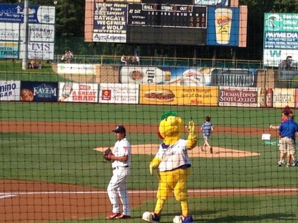 new jersey minor league baseball teams Buster waving hi to the crowd