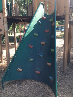 One of the rock climbing walls.