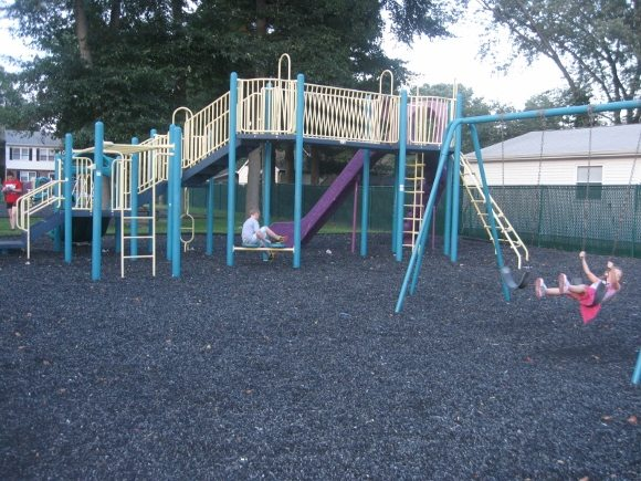 Little area but lots of playground equipment.