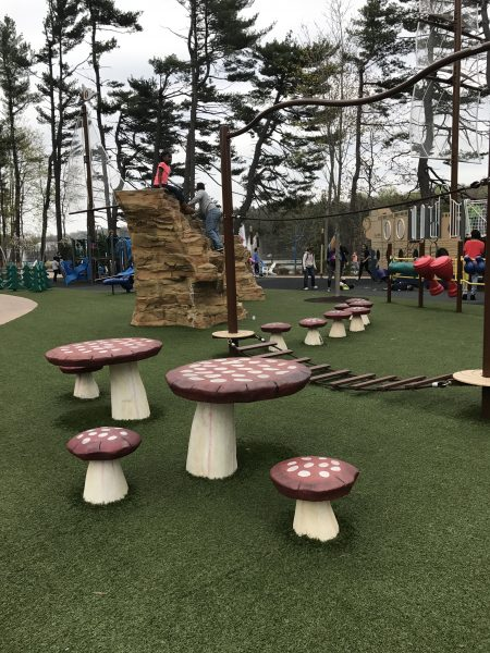 Mushroom tables and stools at Regatta Playground - South Mountain Recreation Complex West Orange Parks & Playgrounds in Essex County Photo Credit Jersey Family Fun