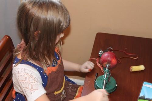 coring an apple to make applesauce