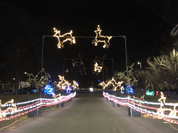 Drive under dancing reindeer at the Magic of Lights at the PNC Bank Arts Center in Holmdel.