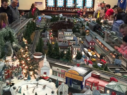 Christmas Model train set on display at Barron Arts Center