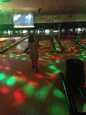 Getting ready for some laser light bowling.
