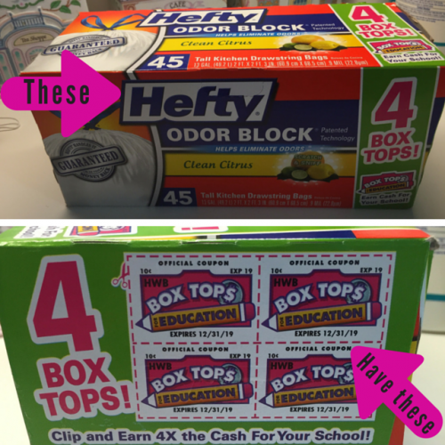 Hefty Trash Bags with Bonus Box Tops