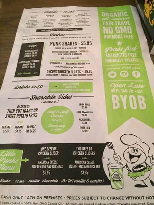 P'Unk Burger menu with kids menu shakes and salads