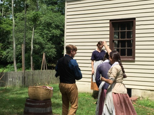 Volunteers playing games from the 1800s