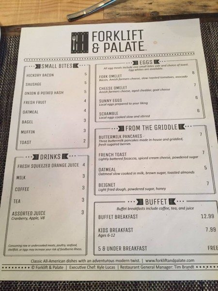 Forklift and Palate menu
