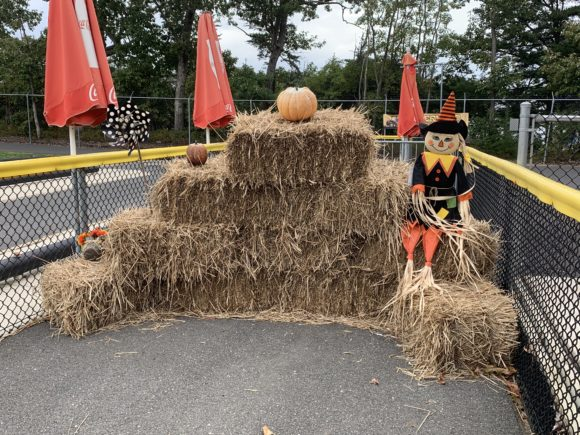Diggerfest Photo Op with scarecrows and hay