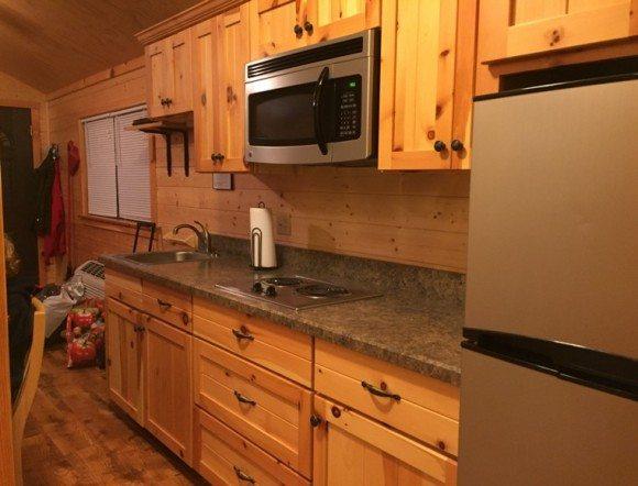 Hersheypark campground cabin kitchen