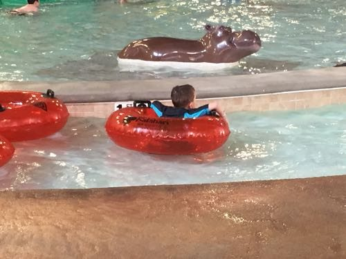 Floating in the kids lazy river.
