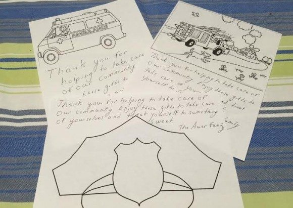 My kids will be coloring these first responder coloring sheets as the final touch to our care baskets.