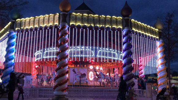 The Merry Go Round carousel Holiday lights at Six Flags Great Adventure Holiday in the Park Activities