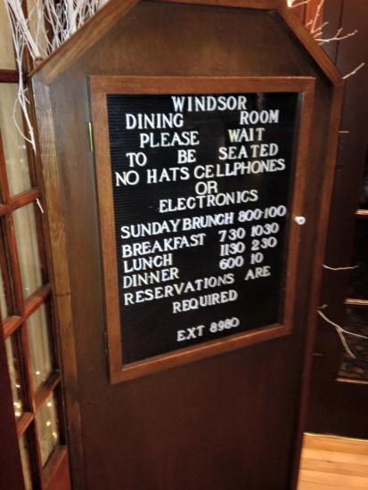 windsor dining room sign