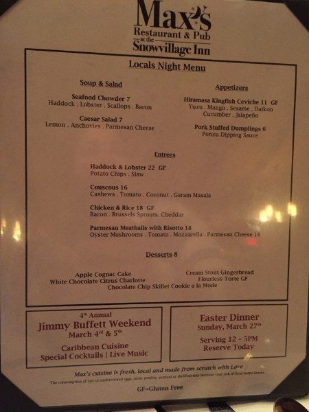Snowvillage Inn Locals Night Menu