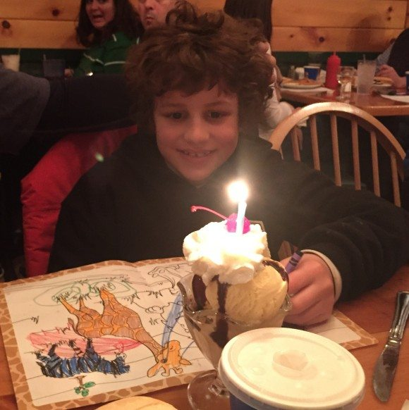 Celebrating his first double digit birthday at Muddy Moose.