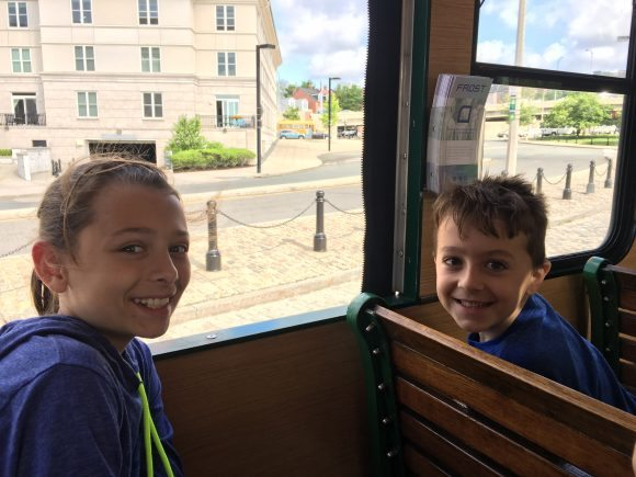 And we're off on the Boston Trolley!