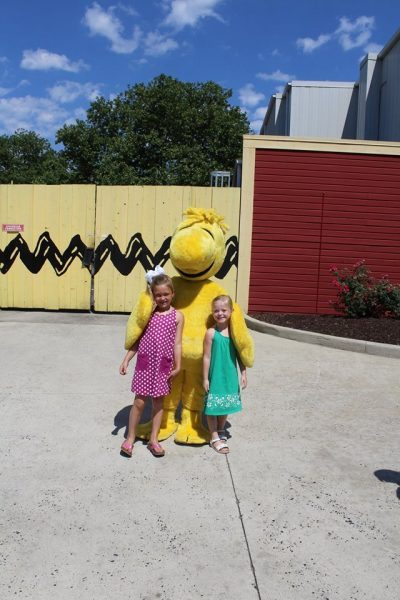Posing with Woodstock at Dorney Park