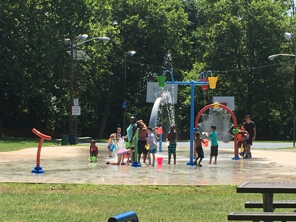 The splash pad at Michael Lepp Park