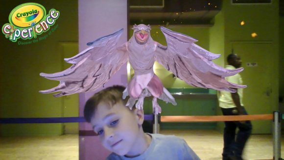 He colored the bird that then flew around the screen - then he took a selfie! This was emailed to us.