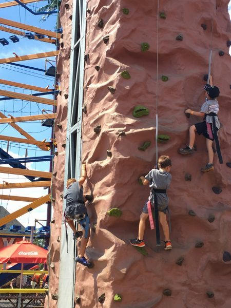 Rock climbing is included with admission at Diggerland