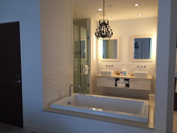 Oversized bathtub in Kahuna Suite at Bungalow Hotel in Long Branch, New Jersey