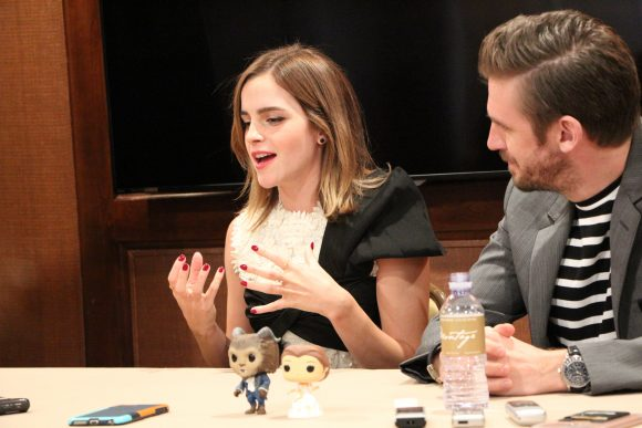 Emma Watson and Dan Stevens during Beauty and the Beast interview at the Montage Hotel in Beverly Hills, CA