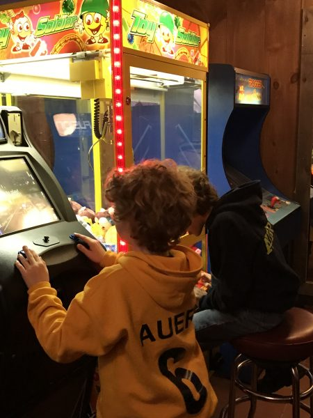 Arcade games at Chicken Run restaurant in Windham, NY