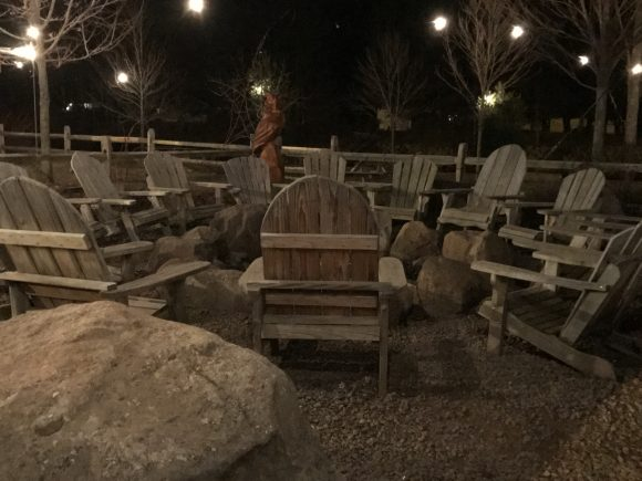 Campfire ring seating at Chicken Run restaurant in Windham, NY