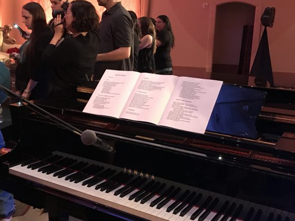 Grand piano during Beauty and the Beast press conference