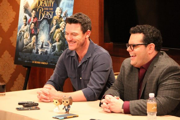 Beauty and the Beast interview with Josh Gad and Luke Evans at the Montage Hotel in Beverly Hills, CA.