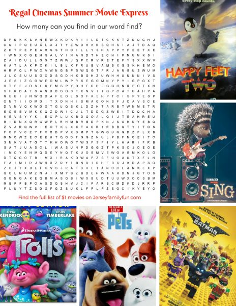 Regal Cinemas Summer Movie Express Word Find
