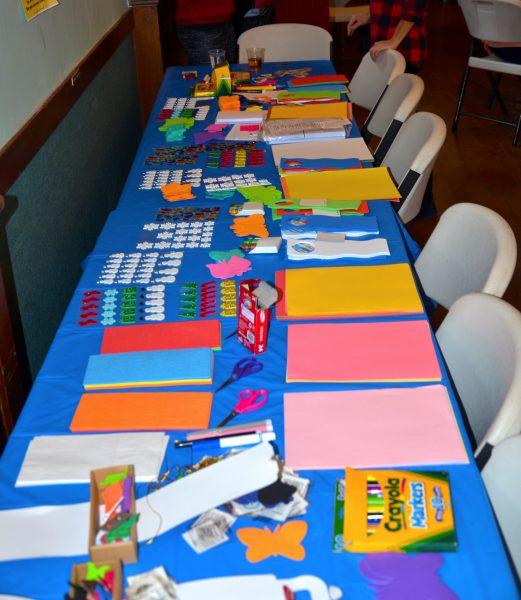 Table of supplies from Bergen Volunteer Center