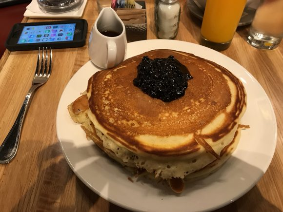 Buttermilk pancakes with local blueberry preserve and Pennsylvania Maple Syrup are part of the Urban Farmer's Philadelphia breakfast menu