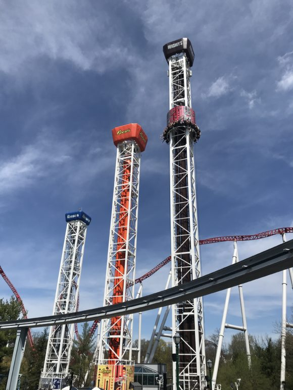 the Hersheypark Triple Tower was new to Hersheypark in 2017.