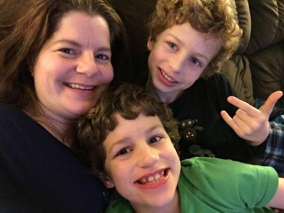 Jenn selfie with boys