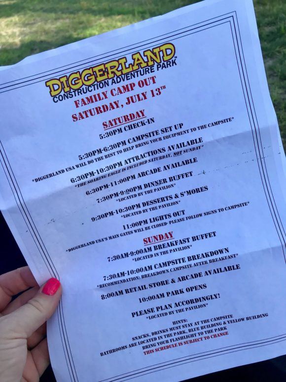 Diggerland Family Campout Schedule