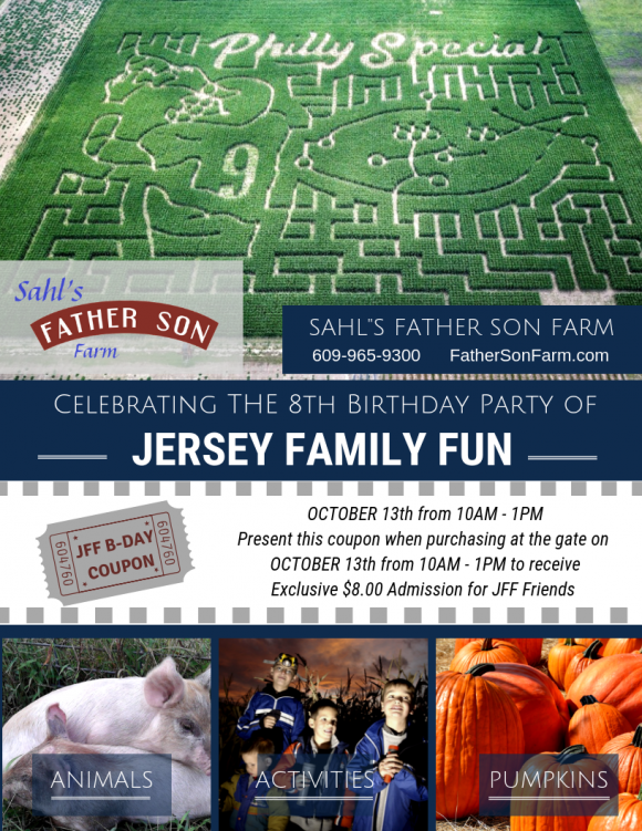 Jersey Family Fun 8th birthday party coupon