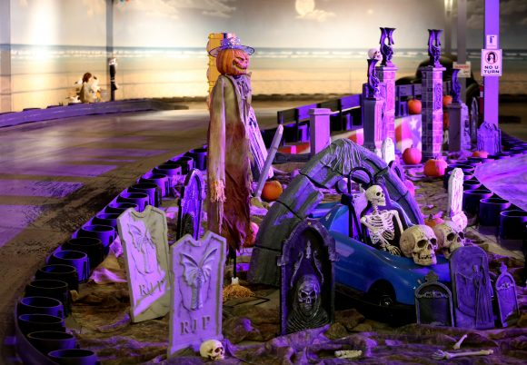 The Go carts track at iPlay America is decorated for Halloween