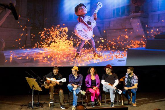 Michael Giacchino (Composer), Germaine Franco (Songwriter/Arranger), Camilo Lara (Consultant), Adrian Molina (Writer and Co-Director) & Federico Ramos (Guitarist) from Disney Pixar COCO