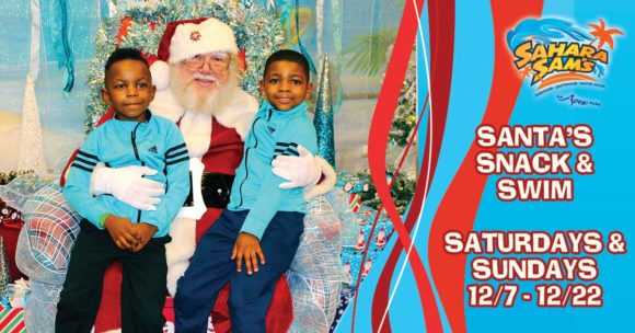 two boys with santa at Sahara Sam's Breakfast with Santa event