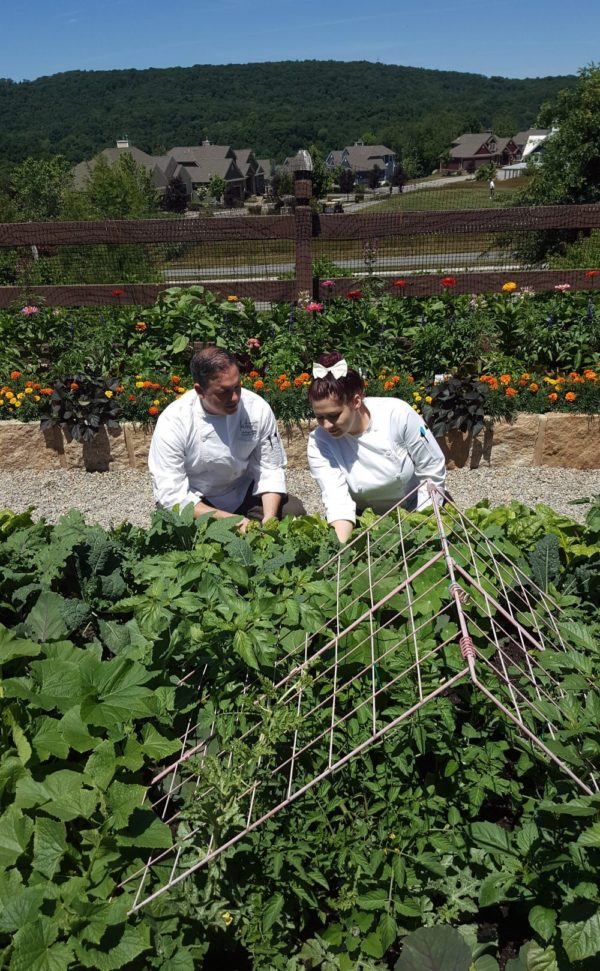 Anthony Bucco & Chef Martyna Krowicka in Chefs Garden a Crystal Springs Resort restaurant at Grand Cascades Lodge