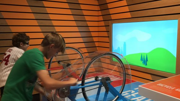 Experiencing the Sport Zone at the Franklin Institute in Philadelphia Mom bicycle