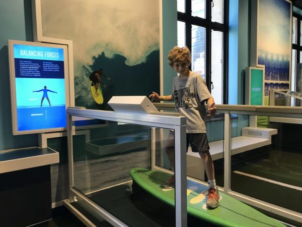 Experiencing the Sport Zone at the Franklin Institute in Philadelphia balancing forces