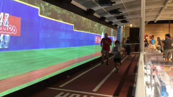 Experiencing the Sport Zone at the Franklin Institute in Philadelphia racing