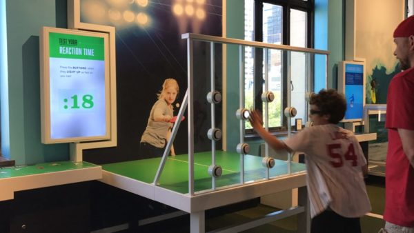 Experiencing the Sport Zone at the Franklin Institute in Philadelphia test your reaction time